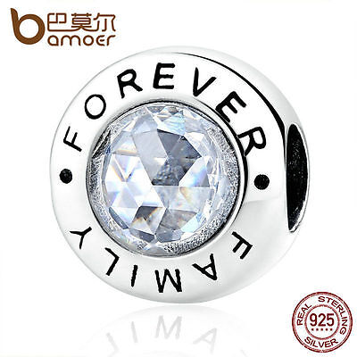 Bamoer Authentic S925 Sterling Silver Charms Family Forever, Clear CZ jewelry