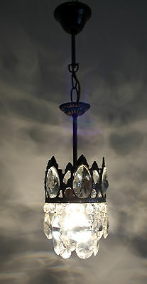Antique French Basket Style Mini Brass &  Crystals  Chandelier 1950's