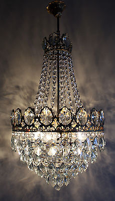 Large Antique French Basket Style Brass &  Crystals  Chandelier ceiling Lamp