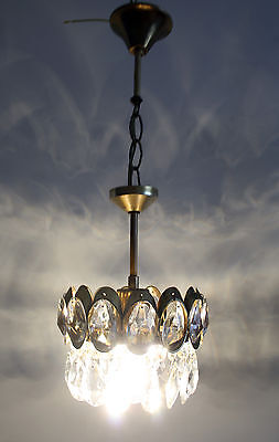 Mini ++ Antique French Basket Style Brass &  Crystals  Chandelier Ceiling Lamp