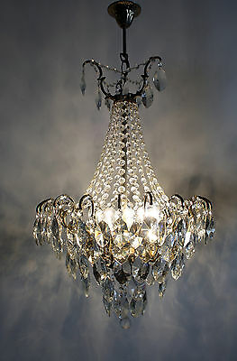 Antique / Vintage 18 arms Spider Style Brass & Crystals  Chandelier from 1940's