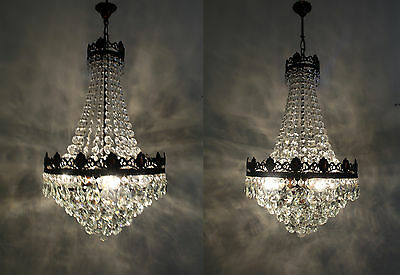 Pair of Antique / Vintage French Basket Style Brass & Crystals  Chandeliers Lamp