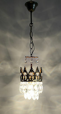 """Antique French Basket Style Brass &  Crystals  Chandelier """"GOLD COLOR"""" 1950's"""