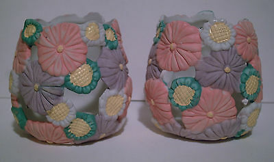 2 Ceramic Hand Painted Spring Floral Tea Light Candle Holders
