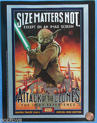 IMAX THEATRE FLYER '02 vtg Star Wars ATTACK of the CLONES Size Matters Not YODA