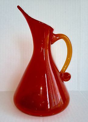 Vtg. Bischoff  Art Glass Orange Pitcher With Controlled Bubbles