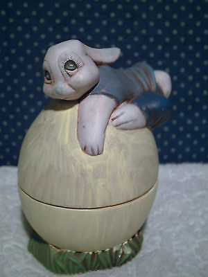 Ceramic Spring Easter Bunny Rabbit Hand Painted Egg Candy Bowl