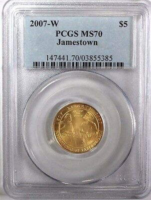 2007-W $5 Jamestown Gold Commemorative Uncirculated PCGS MS70