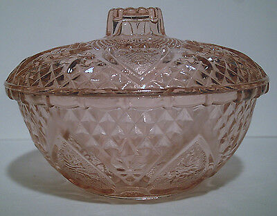 """Firna Indonesia Pink Glass 5 1/8"""" Round Covered Dish Hearts & Roses"""