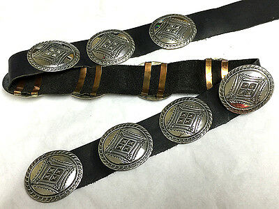 VTG Navajo 1970's Concho Belt in .925 Sterling Silver Hand Stamped