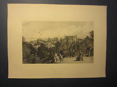 Original Old 1870's - Antique Print - CITY OF CLEVELAND - Cassell Petter Galpin