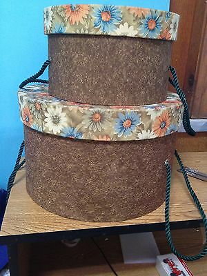 PAIR OF VINTAGE CLOTH COVERED HAT BOXES-------------------------------------gg