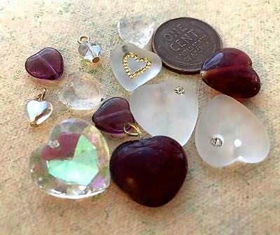 Vintage Glass and Crystal Heart Beads Mix 12