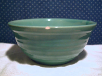 Vintage Gloss Green Ring Pottery Mixing Bowl #12