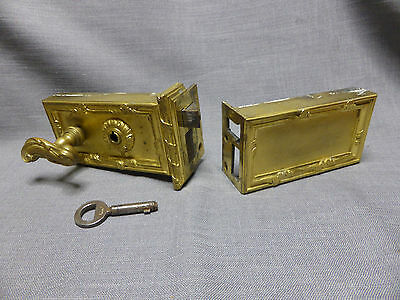 Antique French Bronze Door Lock With Knob-Key