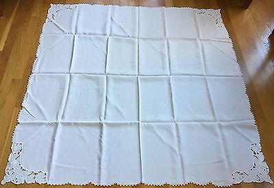 "VTG HAND EMBROIDERED & CUTWORK LINEN TABLECLOTH 50 x 51"" GRAPE BUNCHES ON CORNER"