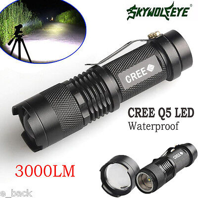 3000LM ZOOMABLE CREE Q5 LED Flashlight Adjustable Focus Waterproof Torch Lamp