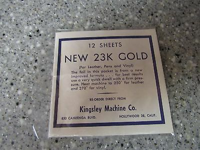 12 Sheets of Genuine Kingsley Embossing Hot Stamping  23 K.Yellow Gold Foil