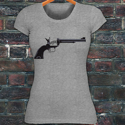 KILL EM WITH KINDNESS GUN PISTOL LOVE SHARE Womens Gray T-Shirt
