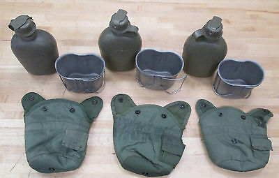{3} US MILITARY 1 QUART CANTEENS w/ OLIVE GREEN COVERS & CUPS ~ Used~