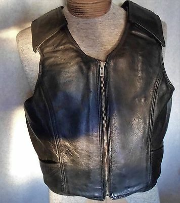 Leather Bull Rider's Vest  PBRA  black   large size  double stitched  very nice