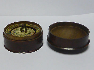 18 c. Antique Pocket Sundial Compass in  Wooden Box