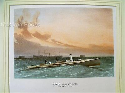Antique Colour Lithographic Print Torpedo Boat Alfred Victorian Ships Royal Navy