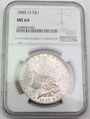 1885-O $1 Morgan Silver Dollar Graded by NGC MS-64 w/ Rainbow Toning Nice Coin!!