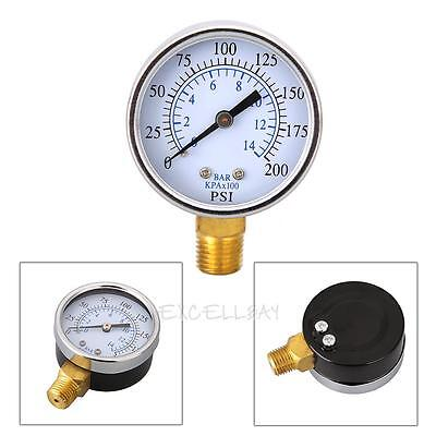 "1/4"" NPT Air Compressor Hydraulic Pressure Gauge 0-200 PSI Side Mount 2.0"" Face"