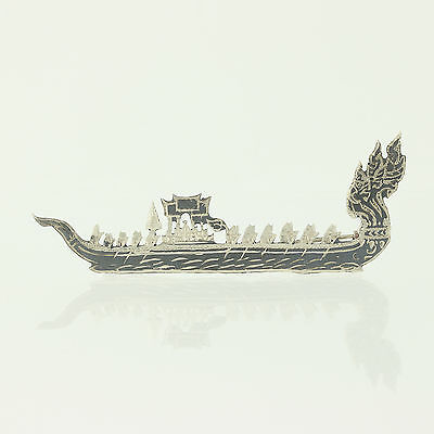 Siam Silver Dragon Boat Brooch Sterling Silver Niello Pin Vintage Asian Jewelry
