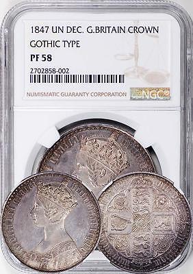 Great Britain 1847 Victoria Gothic Proof Crown NGC PF-58 (Undergraded)