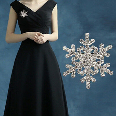 Women Silver Rhinestone Crystal Snowflake Brooch Pin Wedding Bridal  Xmas Gift