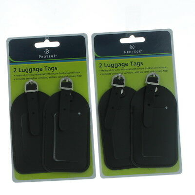 Set of 4 Protege Black Luggage Tags Vinyl Suitcase Carry On Baggage Travel ID
