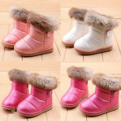 NEW Fashion Baby Kid Girls Warm Fur Snow Boots Toddler Winter Leather Shoes - LD