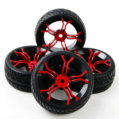 4Pcs HPI Racing RC 1:10 Flat Rally On Road Car Tire Wheel Rims HSP PP0150+MPNKR