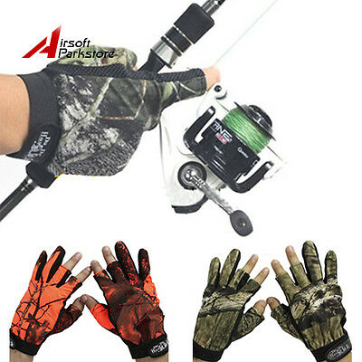 Tactical Camouflage Camo Gloves Full+Half Finger Exposed 3 Fingers Glove Hunting
