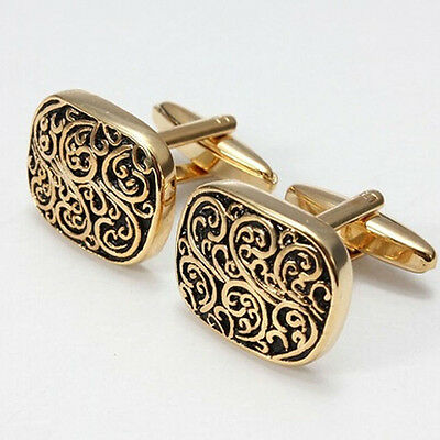 1PC Trendy Fashionable Stainless Steel Rome Pattern Square Golden Cufflink