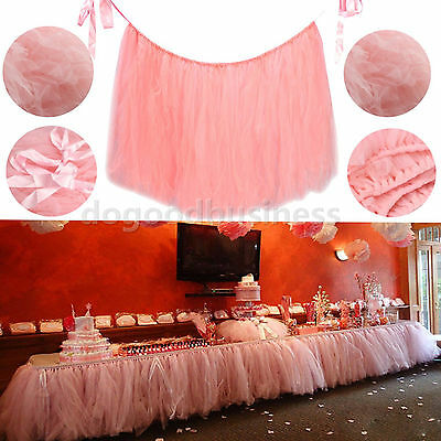 16 Colors Tulle TUTU Table Skirt Tableware Wedding Party Xmas Baby Shower Decor
