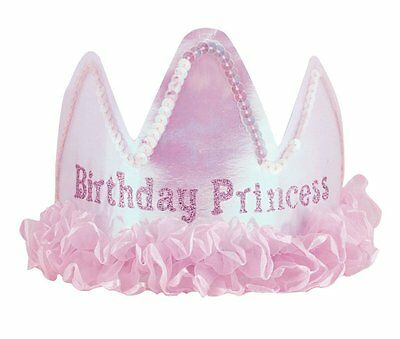 Birthday Princess TIARA with Satin Frill - Girls Birthday Party Hat Accessory
