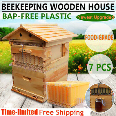 Beehive Wooden House Box + 7 pcs Auto Flow Raw Honey Frames Beekeeping Harvest