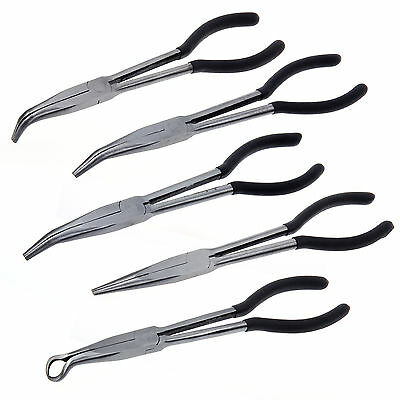 "5X 11"" Extra Long Nose Pliers Set Straight Bent Tip Mechanic Equipment Hand Tool"