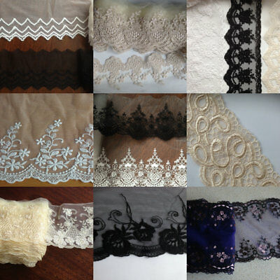 18 cm wide Embroidered Nylon Lace 1 yard Handcraft Trim