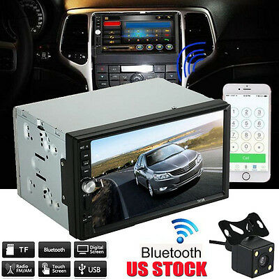"""7"""" Double 2 DIN Car MP5 MP3 Player Bluetooth Touch Screen Stereo Radio HD Camera"""
