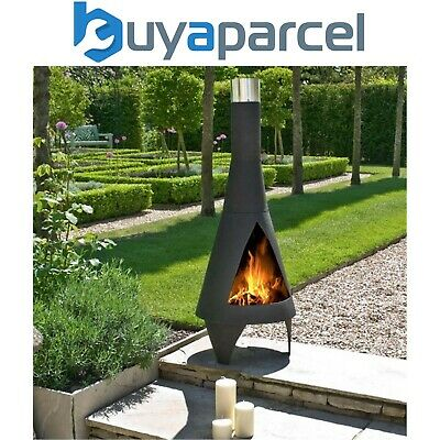 La Hacienda 56087B Colorado Medium Chimenea Chiminea Black Steel Heater Modern