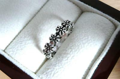 925 Sterling Silver Pretty Flower Band Ring Sz M1/2 Us Size 6.75