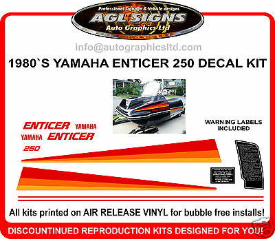 1980 YAMAHA ENTICER ET250 SNOWMOBILE DECAL KIT 250 reproductions graphics
