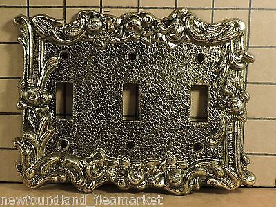 Vintage USED Ornate Metal TRIPPLE Switch Face Plate Cover HD#34