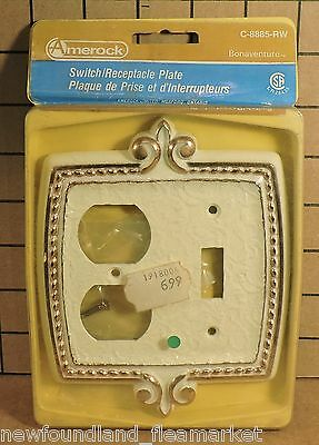Vintage UNUSED Ornate Metal Switch Outlet Face Plate Cover HD#29
