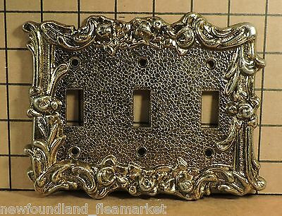 Vintage USED Ornate Metal TRIPPLE Switch Face Plate Cover HD#33