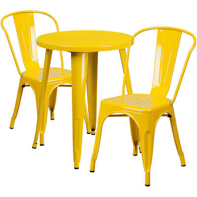 24'' Round Yellow Metal Indoor-Outdoor Table Set With 2 Cafe Chairs